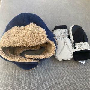 Toddler boys winter hat and waterproof mittens
